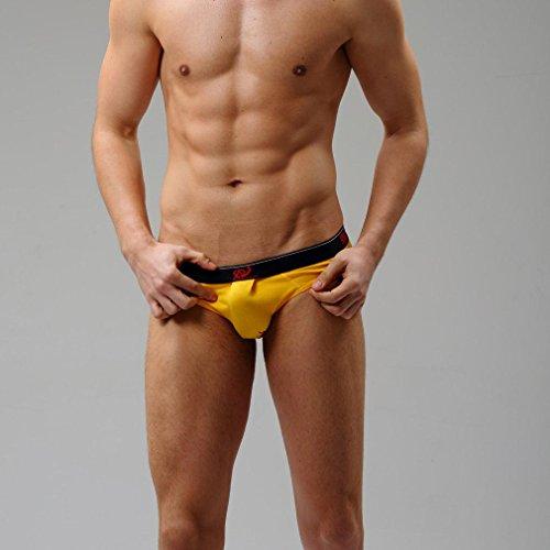 Honghu Solid Color Coton Slips Homme Size S Jaune