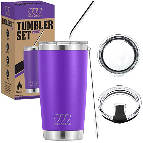 20 oz Tumbler - 5 Piece Stainless Steel Insulated Water & Coffee Cup Tumbler with Straw, 2 Lids, Straw Cleaner - 18/8 Double Vacuum Insulated Travel Flask (Purple, 20oz)