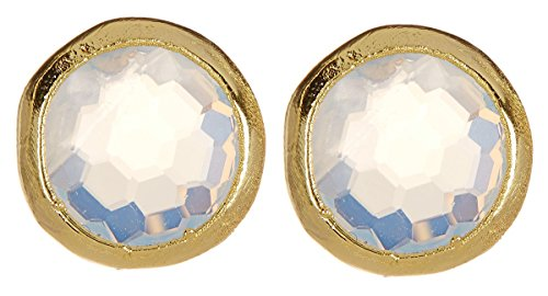 Wholesale Gemstone Earrings - Moonstone 8mm Gold Clad Wholesale Gemstone Fashion Jewelry Post Earrings