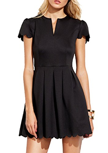 SheIn Womens Scalloped Pleated Cocktail