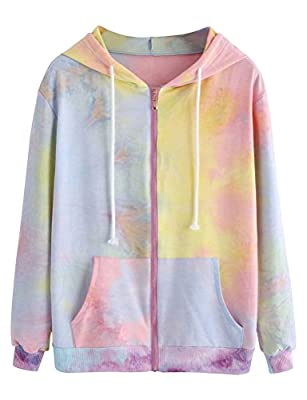 ZXH Women Long Sleeve Zipper Lace Up Pocket Hoodies Colorful Casual Sweatshirt