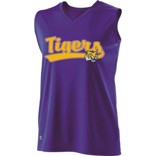 SLEEVELESS V-NECK LSU TIGERS Girls Curve Dry-Excel YOUTH SMALL Licensed NCAA College Replica Jersey