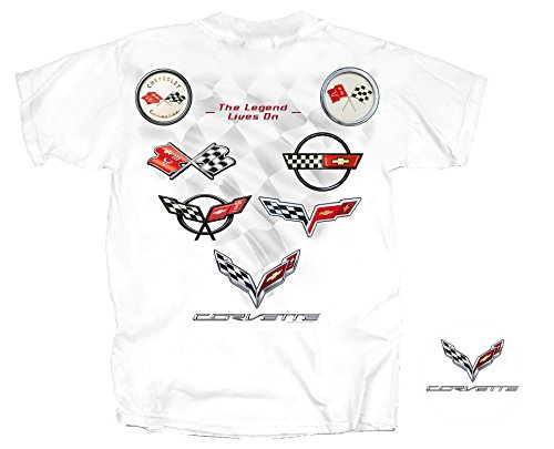 Joe Blow Men's Corvette C1-C7 Flag Collection T-Shirt, X-Large, (Corvette White T-shirt)