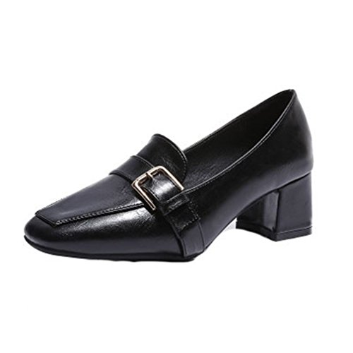 GIY Women's Classic Square Toe Pumps Loafers Comfort Slip-On Buckle Block Heel Casual Dress Loafer ()