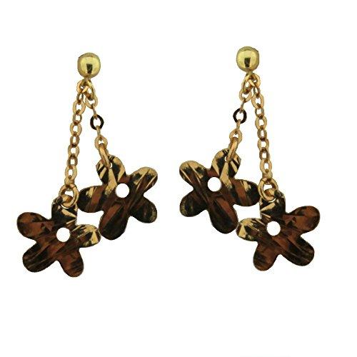 18K Yellow Gold Diamond Cut Flowers Dangle Post Earrings L, 1 inch by Amalia