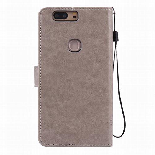 Custodia Huawei Honor V8 Cover Case, Ougger Alberi Gatto Printing Portafoglio PU Pelle Magnetico Stand Morbido Silicone Flip Bumper Protettivo Gomma Shell Borsa Custodie con Slot per Schede (Grigio)