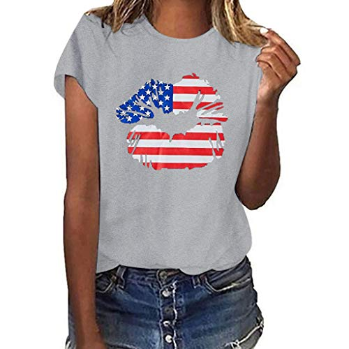 Womens Sexy Tops 2019, YEZIJIN Women Plus Size Lips Independence Day Print Short Sleeve T-Shirt Blouse Tops -