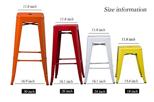 High Backless Metal Bar Stool for Indoor-Outdoor Kitchen Counter Bar Stools Set of 4 Bronze Metal with Wood Seat by Changjie Furniture (Image #4)