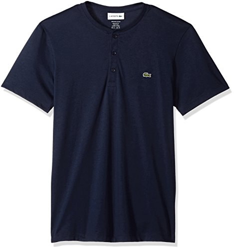 Lacoste Men's Short Sleeve Henley Jersey Pima T-Shirt, TH0884, Navy Blue, (Lacoste Cotton Henley)