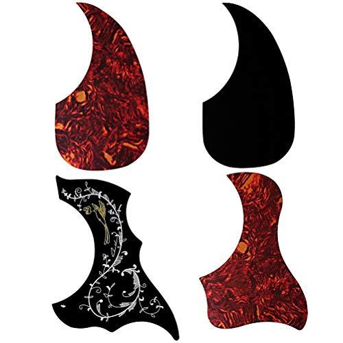 (Fashion Road 4Pcs Acoustic Guitar Pickguard, Anti-Scratch Guard Plate Pick Guards, Droplets Bird Pattern Self Adhesive Guard Plate)