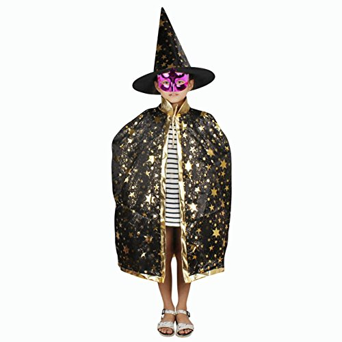 Wizard Cloak Costume (Halloween Costumes Witch Wizard Cloak with Hat Cosplay Cape for Kids Boys Girls (Black))