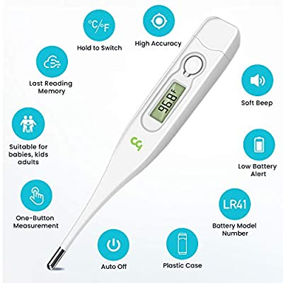 Medical Oral Thermometer for Adults, Thermometer for Fever, Oral Underarm Rectal Temperature Thermometer for Adults and…