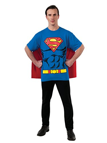 DC Comics Superman Costume T-Shirt with Cape, Blue, Large ()