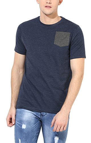 Aventura Outfitters Men's Round Neck T-Shirt With Contrast Pocket (Navy Melange)