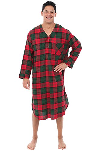 Alexander Del Rossa Mens Flannel Nightshirt, Long Lightweight Cotton Kaftan, Small Red and Green Plaid (A0548Q03SM) (Flannel Nightshirt Mens)