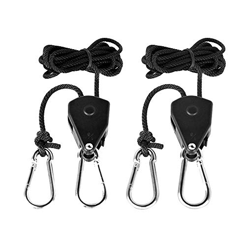 Heavy Duty Adjustable Rope Hangers for Led Grow Light Tent Lamps,1/8 inch 150 LBS Weight Capacity, Reinforced Metal Gears Ratchets-1 Pairs by MEIZHI ()