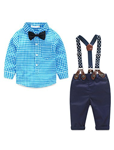 Baby Boys Gentleman Long Sleeves Plaid Bowtie Romper Suspenders Shorts Two-Piece Set Blue 80 by Abolai