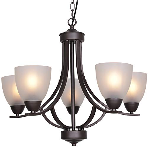VINLUZ 5 Light Shaded Contemporary Chandeliers with Alabaster Glass Oil Rubbed Bronze Modern Light Fixtures Ceiling Hanging Rustic Pendant Lighting for Dining Room Foyer Bedroom Living Room (Best Ceiling Lights For Dining Room)