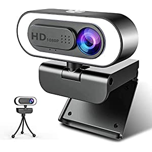 Flashandfocus.com 41CkBiAgBWL._SS300_ Webcam with Microphone Ring Light-HD 1080P Web Cam with Privacy Cover&Tripod for Desktop/Laptop/PC/MAC,Web Cameras for…