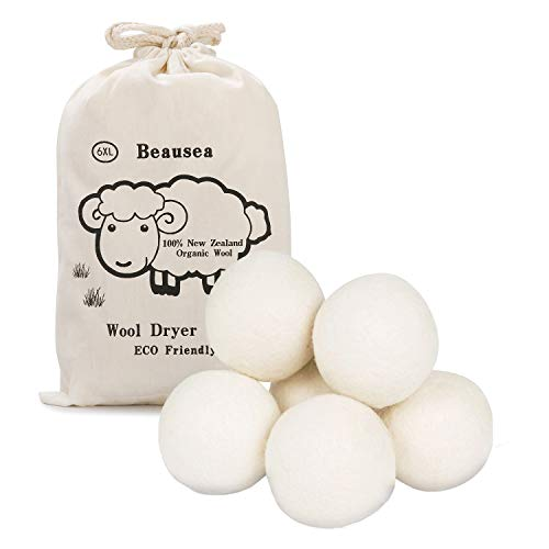 Beausea Wool Dryer Balls, Reusable Fabric Softener, 100% New Zealand Organic Wool, 6 Pack XL,White