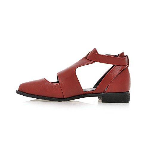 Amoonyfashion Femmes Pointu Bout Fermé Talons Bas Matériau Souple Boucle Solide Pompes-chaussures Rouge