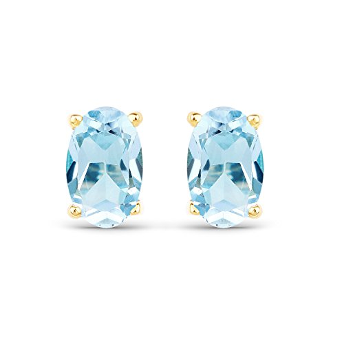 Blue Topaz 10kt Ring - 0.45 Carats Genuine Blue Topaz Oval Stud Earrings Solid 10KT Yellow Gold
