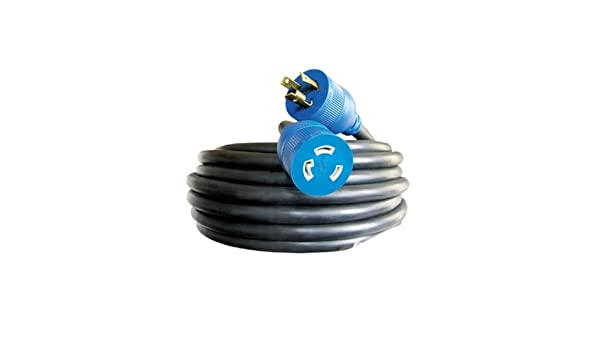 Yellow with Blue Stripe 50-Foot Voltec 05-00128 12//3 SJTW Locking Extension Cord