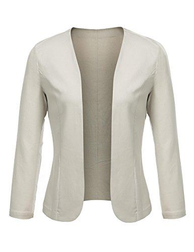 Concep Women's Cropped Blazer Casual Work Office Jacket Lightweight Slim Fit Cardigan (Cream, XXL)