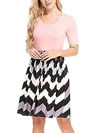 Meaneor Women Wave Striped High Waist Print Short Sleeve Summer Beach Mini Dress