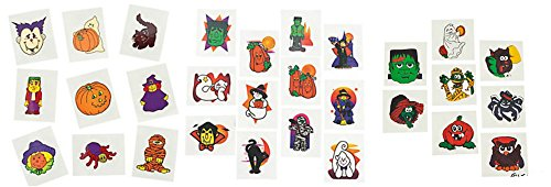 Halloween Assorted Temporary Tattoos - 216 Pack (72 Plain + 72 Glitter + 72 Glow in Dark) ()