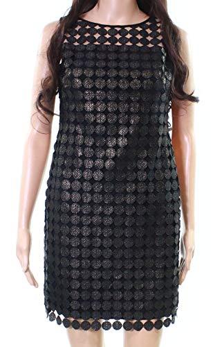 - LAUREN RALPH LAUREN Womens Petites Metallic Lace Cocktail Dress Black 8P