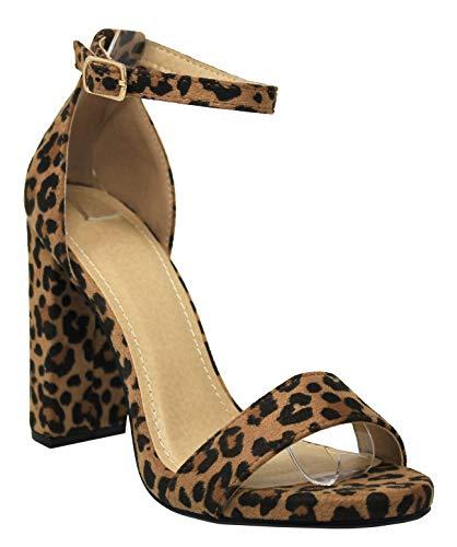 MVE Shoes Womens Stylish Open Toe Single Strap Block Heel, Che L-Tan Size 8