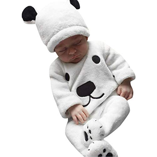 LNGRY Baby Clothes,Toddler Infant Girls Boys 3Pcs Winter Warm Fluffy Bear Tops+Footie Pants+Hat Outfits (0-6 Months, White) -
