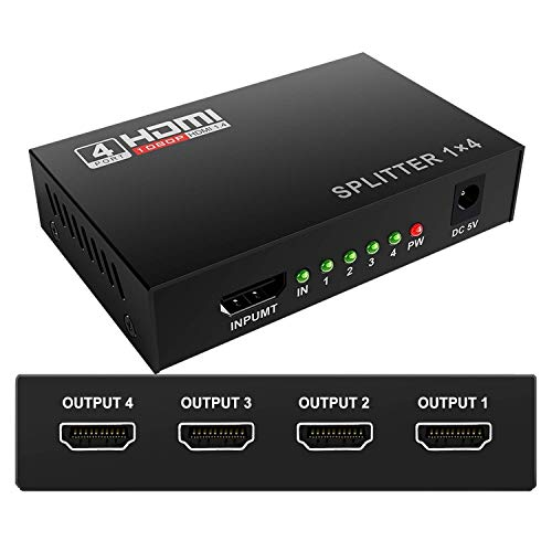 HDMI Splitter 4K Full Ultra HD 1080P HDMI Splitter 1 in 4 out Support HDMI 1.4b Version,1 x 4 hdmi splitter Switch 4K/2K 3D for PS4 Xbox Sky Box Fire Stick,DVD Player HDTV Projector(1X4 Ports Powered)