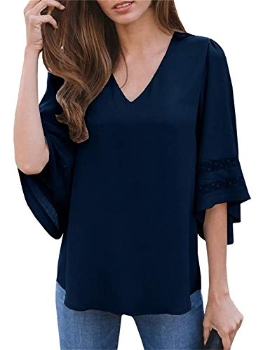 Umeko Womens Sexy V Neck Chiffon Blouses Tops Oversized Long Lantern Sleeve Pullover Shirts (X-Large, Z-Navy)