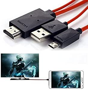 6.5ft Micro USB to HDMI Cable Adapter MHL for Samsung Galaxy S3/S4/S5, Note 2, Note 3, Note 8.0, Note 10.1 to 1080P HDTV (Red)