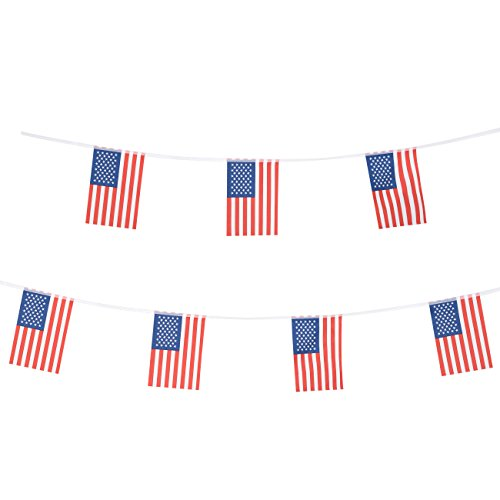 100 Feet American Flag US Pennant Banners Flags,Party Decorations For Grand Opening,Bar,Carnival,World cup,Kids Birthday,Sports Events,International Festival,4th of July Celebration Events
