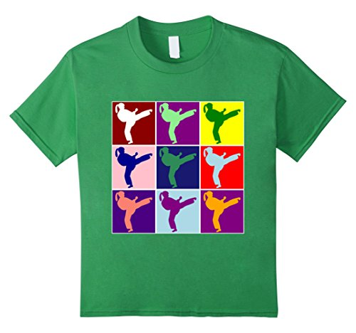 Kids Cute Colorful Girl Karate Martial Arts Pop Type Art T-shirt 6 Grass (Girl Martial Arts Karate T-shirt)