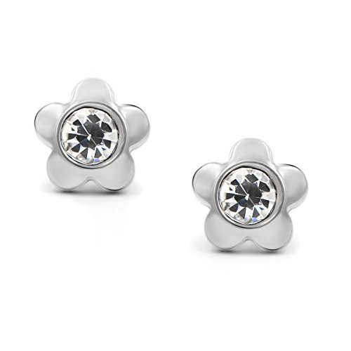 Price comparison product image 316L Surgical Stainless Steel Flower Cubic Zirconia Screwback Baby Girls Earrings Studs, 6mm