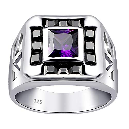 3.20 Ct Purple Square Amethyst Cz And Sapphire 925 Sterling Silver Ring For Women: Nickel Free Beautiful And Stylish Engagement Gift For Wife: Ring Size-7