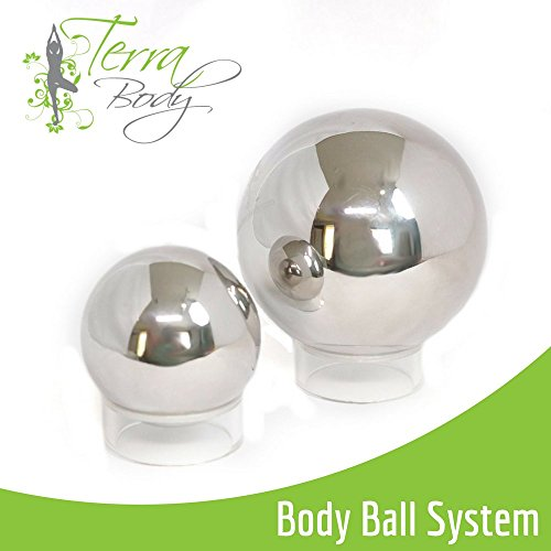 Terra Body Ball Massage System and Digital Trigger Point Guide | Small and Large Stainless Steel  Massage Balls | Relieve Neck, Shoulder, and Back Pain - Easily Massage Over Hair, Skin and Clothing