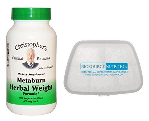 Christopher's Original Formulas Metaburn Herbal Weight Formula 100 Capsules in Bundle with Biosource Nutrition Pocket Pill Pack