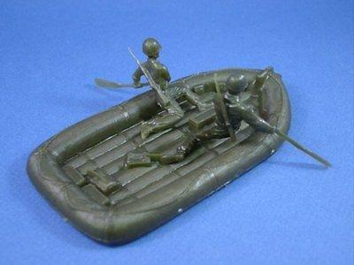 Marx Battleground Playset RECAST WWII Marines Raft Set Toy Soldiers Army Men Plastic - Paddler Series
