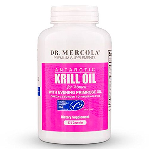 Dr. Mercola Antarctic Krill Oil for Women - 270 Capsules - With Evening Primrose Oil - 1000MG Omega 3 Supplement With EPA DHA GLA & Astaxathin - Odorless & Mercury Free