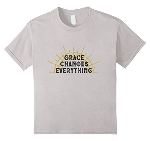 Kids Grace Changes Everything Christian Light T-Shirt 12 Silver