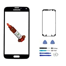 (md0410) Black Front Outer Lens Glass Screen Replacement For Samsung Galaxy S5 SV i9600 G900 G900A G900P G900R4 G900T G900V + Adhesive + Tools + 5ml UV LOCA Liquid Glue (LCD & Digitizer not included)