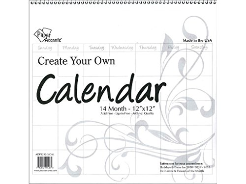 Accent Design Paper Accents ADP1212-3.CAL Cyo Calendar 12x12 Blank WHT Cyo Calendar 12x12 14 Month Blank White - Cal Blanks