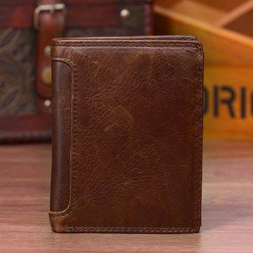 Vintage Genuine Leather 13 Card Slots Driver License Tri-fold Wallet For Men - Men