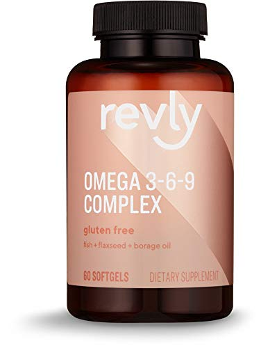 Amazon Brand - Revly Omega 3-6-9 Complex of Fish, Flaxseed and Borage Oil, 60 Softgels, 2 Month Supply (Omega 3 6 9 Fatty Acids Supplements)