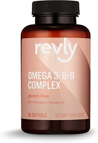 Amazon Brand - Revly Omega 3-6-9 Complex of Fish, Flaxseed and Borage Oil, 60 Softgels, 2 Month Supply